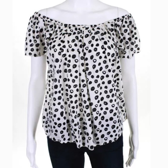 76087053a4918 Maeve Off Shoulder Blouse Maeve Black and white polka dot Size